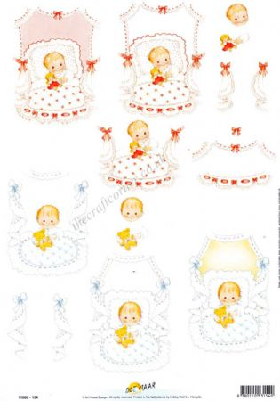 Baby Girl & Boy With Toys 3D Decoupage Sheet